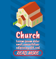 Church concept banner comics isometric style vector
