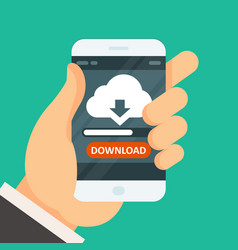 cloud computing download app on smartphone vector image