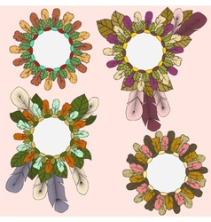 Collection of round frames of feathers and leaves vector
