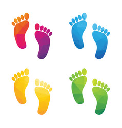 Colorful human footprints composed a triangle vector