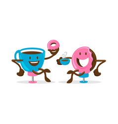 Cup coffee and doughnut character or mascot vector