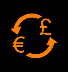 currency exchange sign euro and uk pound orange vector image