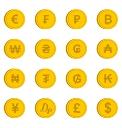 Currency from different countries icons set vector image