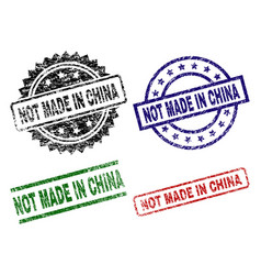 damaged textured not made in china stamp seals vector image