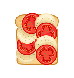 Delicious sandwich with slices of fresh red vector