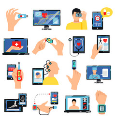 Digital healthcare technology icons set vector