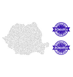 Dotted map of romania and grunge seal collage vector
