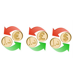 Exchange dirham to euro pound sterling and dollar vector