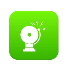 fire alarm icon digital green vector image