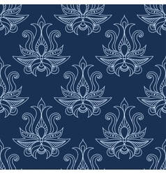 Floral seamless blue paisley pattern vector image