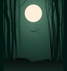 foggy forest in the light of the full moon and vector image