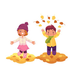 Girl boy and autumn leaves isolated vector
