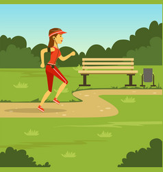 girl running in summer park flat vector image