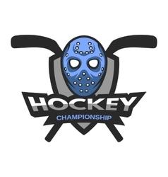 Goalie mask hockey logo emblem vector