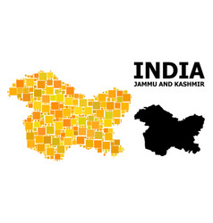 Gold square mosaic map jammu and kashmir state vector