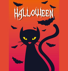 Halloween card with black cat vector