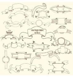 Hand drawn ribbons set vector