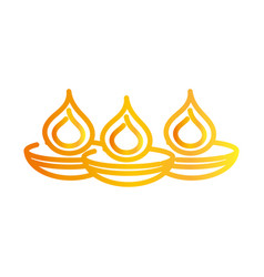 happy diwali india festival burning candles diya vector image