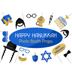 Happy hanukkah photo booth props accessories for vector