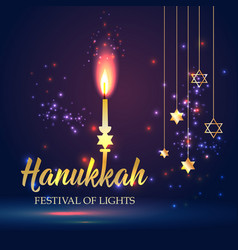 happy hanukkah shining background with candle vector image
