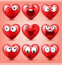 heart smiley emoji set for valentines day vector image
