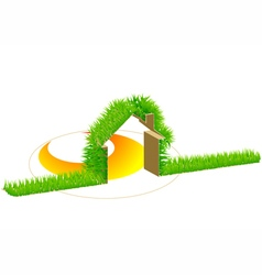 Home and green grass vector