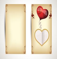 Horizontal Flyers with hearts and text in vintage vector image