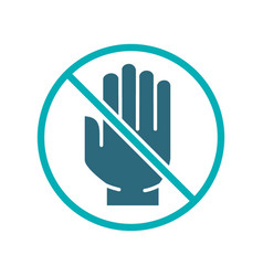 human hand with prohibition sign colored icon no vector image