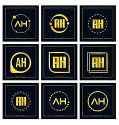 Initial letter ah logo set design vector