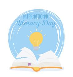 international literacy day open book creativity vector image