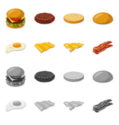 isolated object of burger and sandwich sign vector image