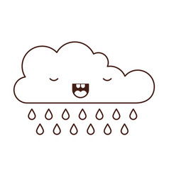 kawaii cloud with rain in monochrome silhouette vector image