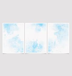 Light blue watercolor wet wash splash on paper vector