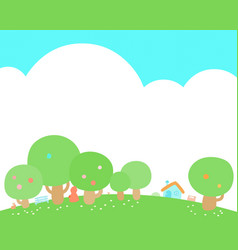 Little house at green hill background vector