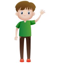 Man in green shirt waving vector