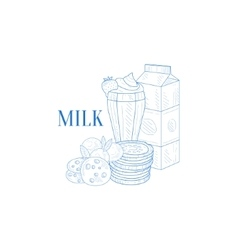 Milk Carton Milkshake And Cookies Hand Drawn vector