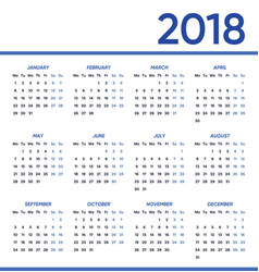 minimalist 2018 calendar vector image