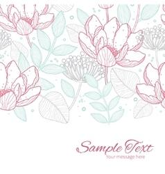 Modern line art florals horizontal border vector