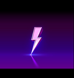 neon sign lightning signboard on black vector image