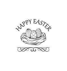nest with three eggs easter greeting card vector image