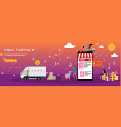 Online shopping or online store concept landing vector