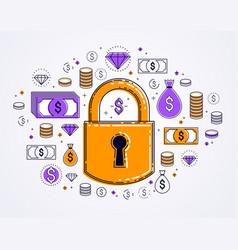 padlock lock surrounded dollar money icons set vector image