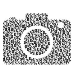 Photo camera collage of dollar and dots vector