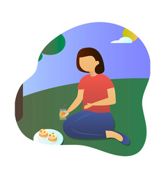Picnic beautiful woman sitting on the blanket vector