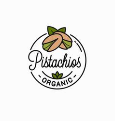 pistachio nut logo round linear pistachios vector image