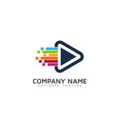 pixel art video logo icon design vector image