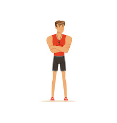 Professional fitness coach or instructor standing vector