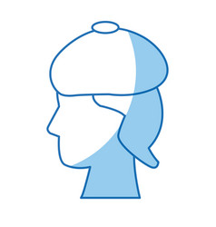 Profile head human sad image vector