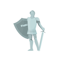 proud figure of a knight in gray armor on a white vector image