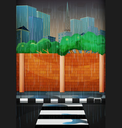 Rainy day in the city vector